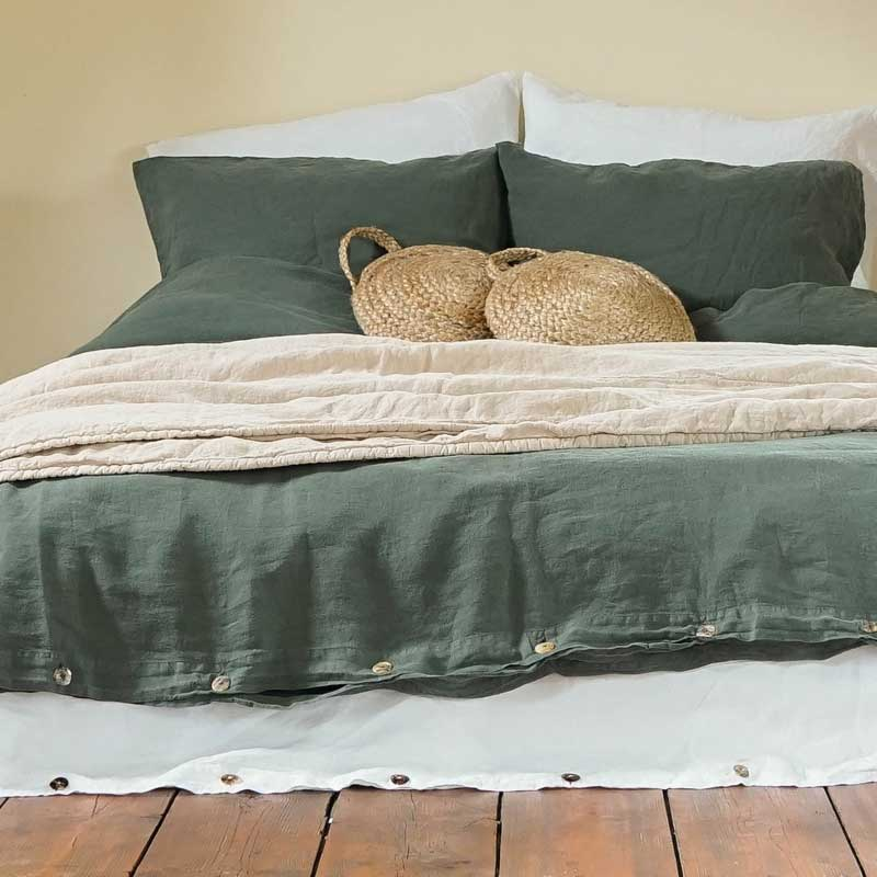 Linen duvet cover Deep Forest Green – Casa Comodo