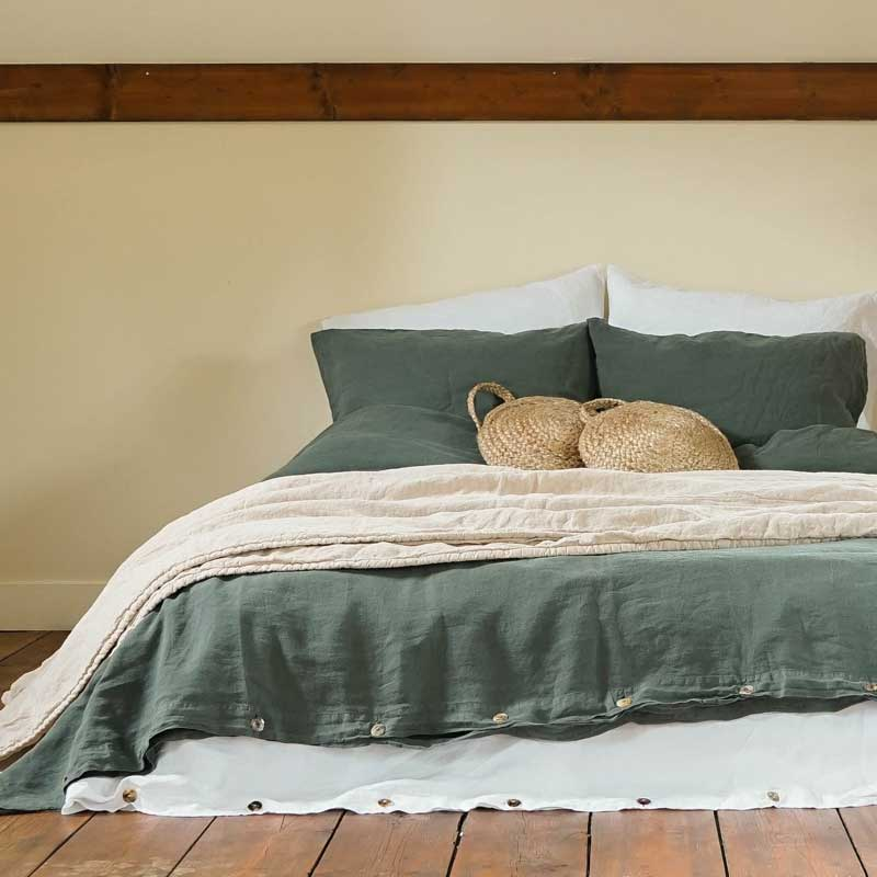 linen duvet cover dark green