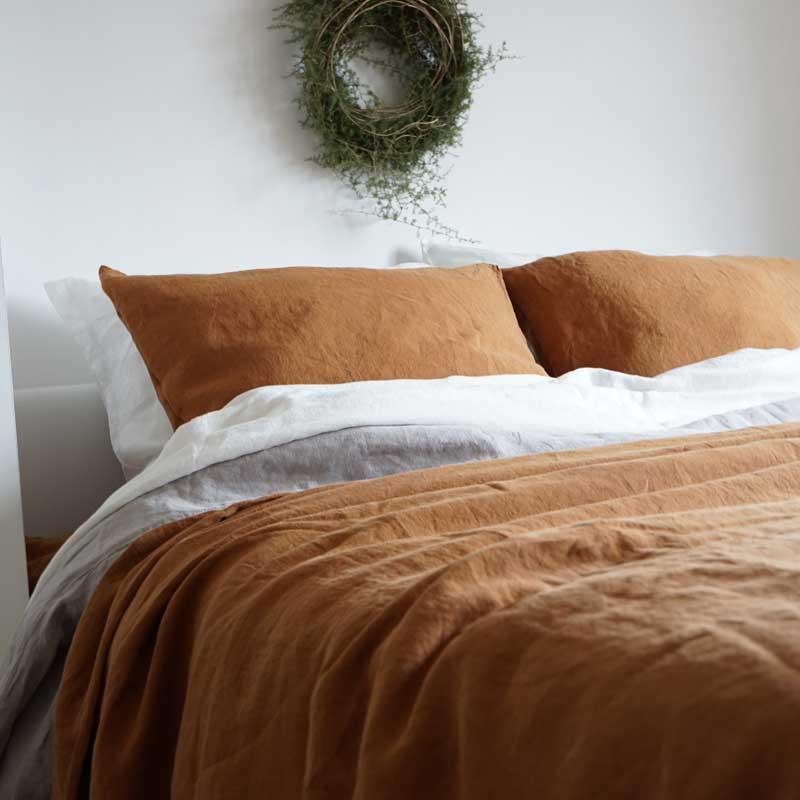 hzelnut brown linen bedding