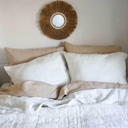 white linen bedspread with beige linen duvet cover
