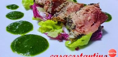 Palamita al sesamo e papavero in salsa verde