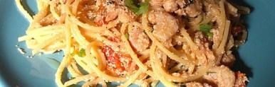 Spaghetti gamberi e uova di merluzzo