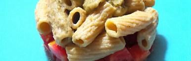 Tortiglioni integrali con crema di melanzana e pomodoro fresco