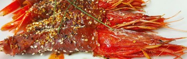 Gamberoni rossi di Mazara al Crudo di Parma