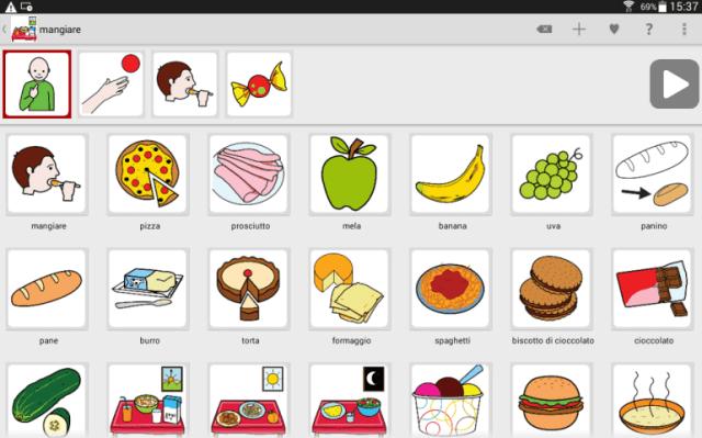 A comunicação através do LetMeTalk acontece a partir de toques em imagens apresentadas na tela do tablet