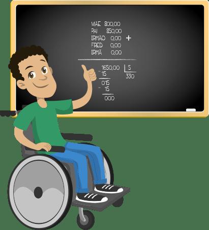 Ilustração de um homem cadeirante em frente a um quadro negro com uma desmostração de cálculo matemático riscada à giz