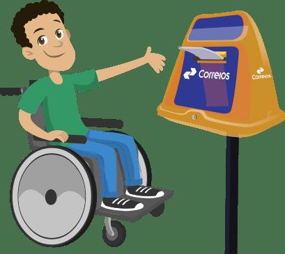 Ilustração de um homem cadeirante colocando uma carta na caixa de coleta dos correios.