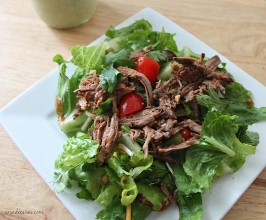 shredded beef barbacoa over salad #whole30 #paleo