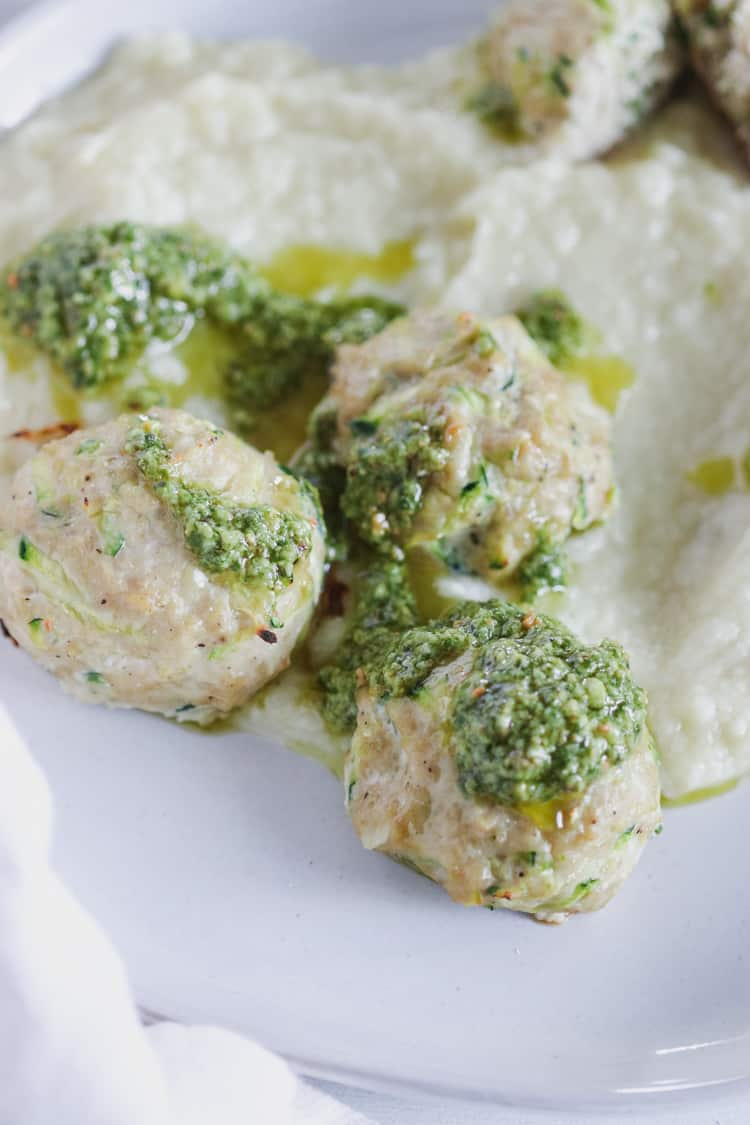5. Zucchini noodles with chicken, feta and Kale meatballs