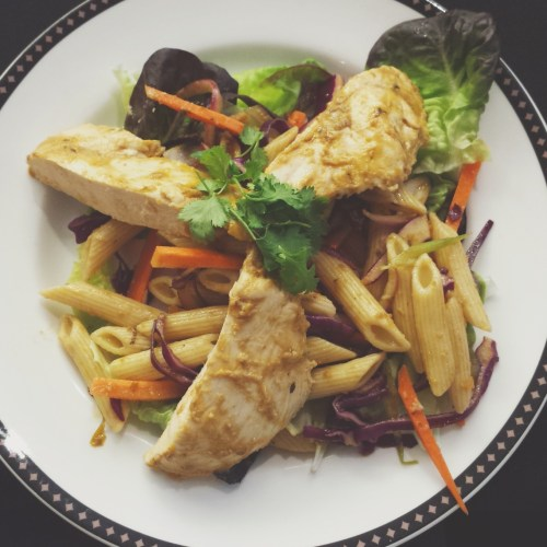 Chicken Pasta Salad in a Carrot Ginger Vinaigrette