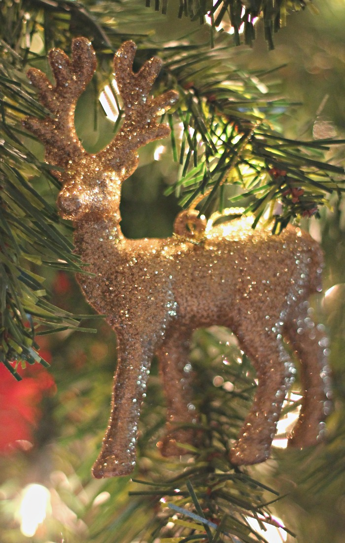This year, I decided tacky-glitter reindeer were in at Casa de Crews - I love this guy!