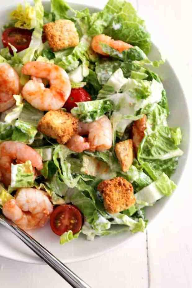 Buffalo Shrimp Caesar Salad - the easiest salad you'll ever make! | casadecrews.com