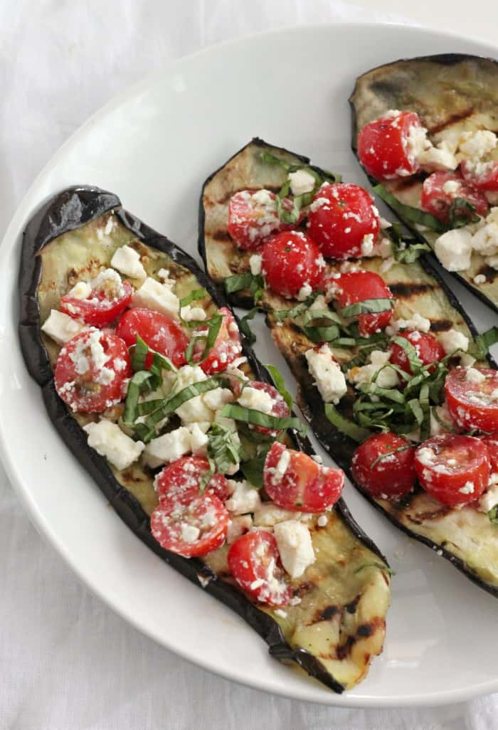 Grilled Eggplant with Tomatoes, Feta, and Basil - Casa de ...