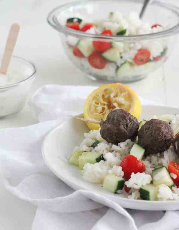 Gyro Meatballs with Lemon Rice #SundaySupper | casadecrews.com