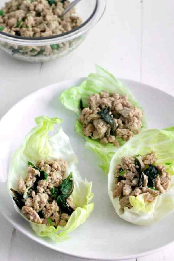 Thai Basil Chicken Lettuce Wraps #SundaySupper | casadecrews.com