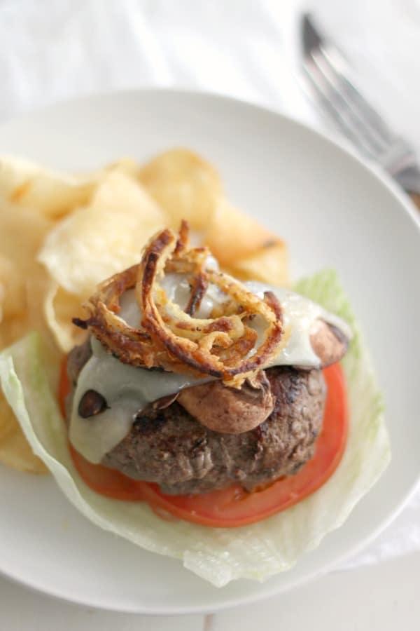 Mushrrom Swiss Burgers with Crispy Onions | casadecrews.com