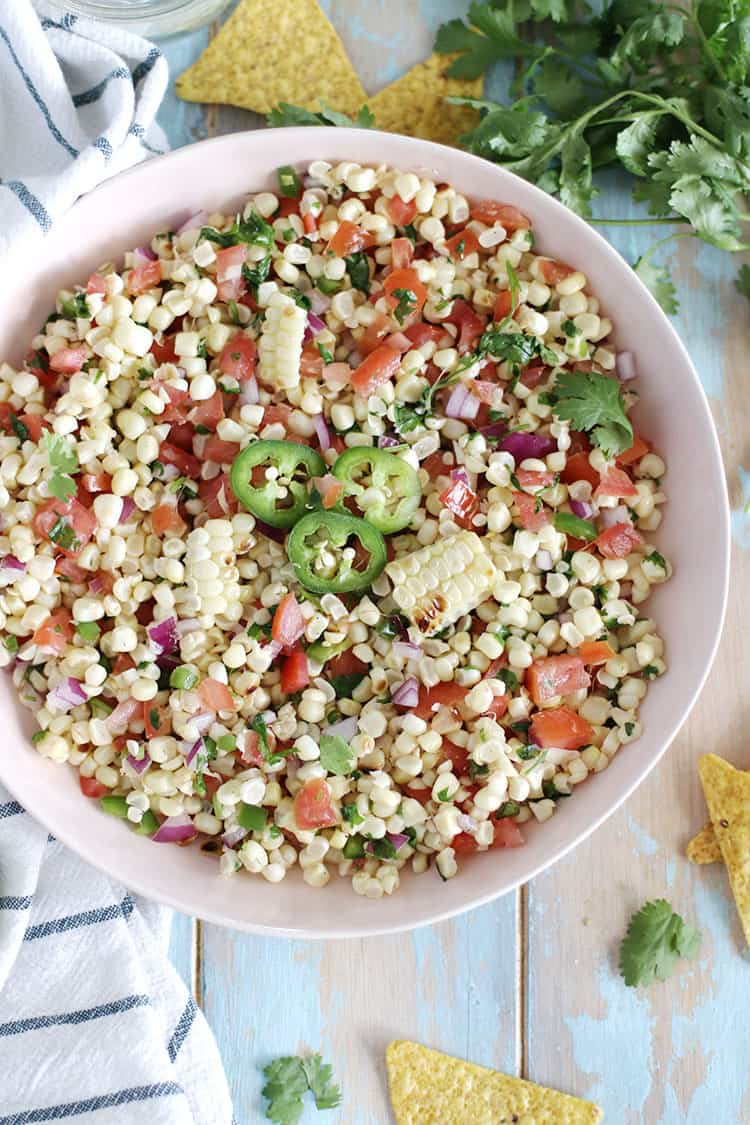 Roasted Corn Salsa. Perfect as a dip, or side to your favorite protein! Great all summertime long