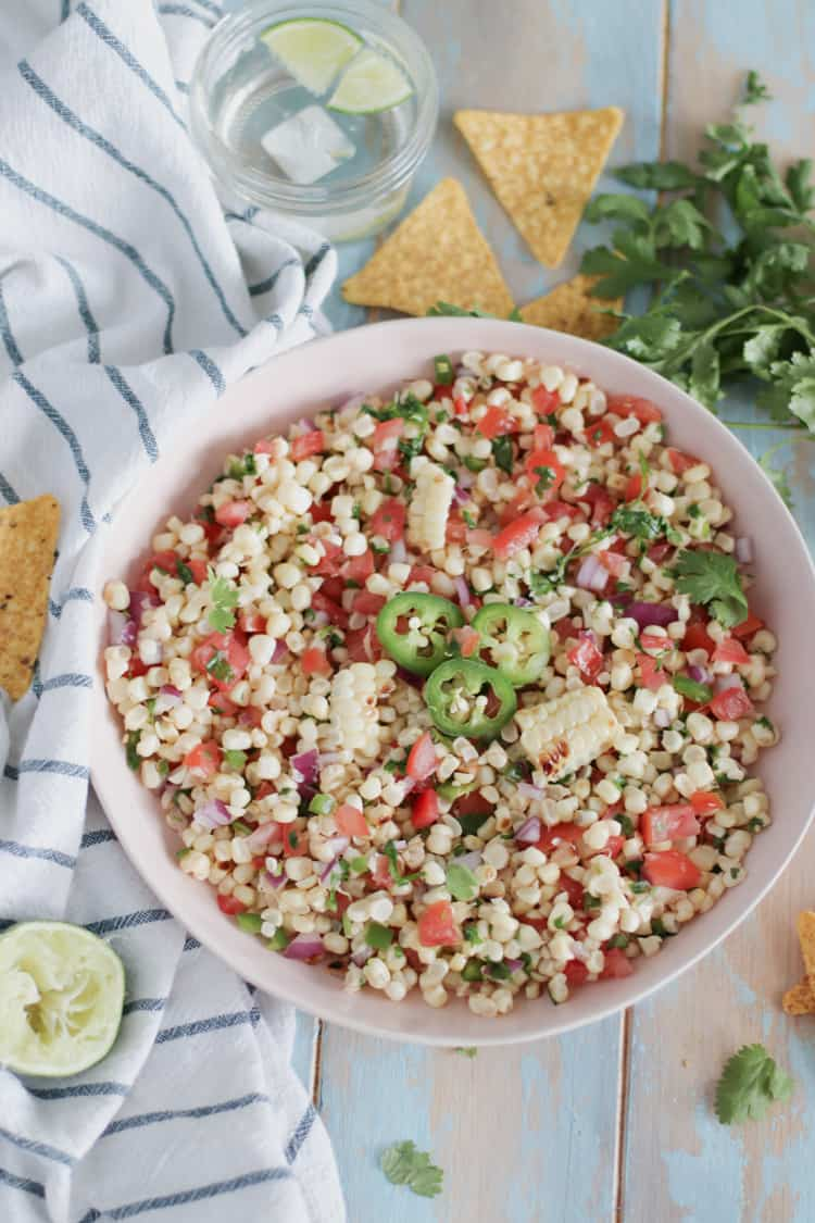 Roasted Corn Salsa. Perfect as a dip, or side to your favorite protein! Great all summer long
