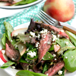 Balsamic Steak and Grilled Peach Salad #SundaySupper