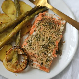Dijon Salmon Sheet Pan Dinner