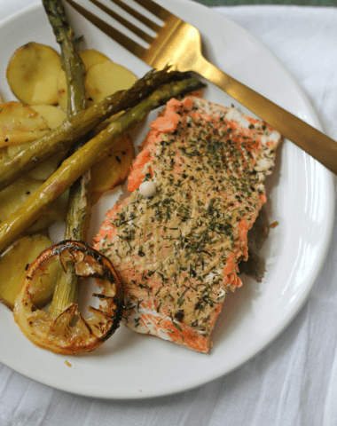 Dijon Salmon Sheet Pan Dinner