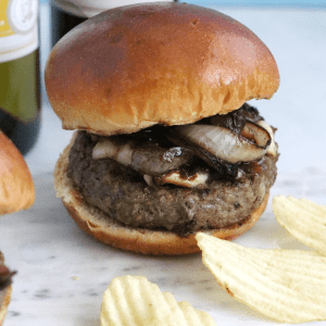 Bacon Brie Burger with Merlot Onions