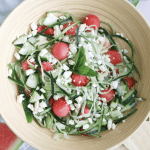 Watermelon Feta Salad with Cucumber and Mint