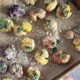 Garlic Smashed Potatoes Roasted in Duck Fat
