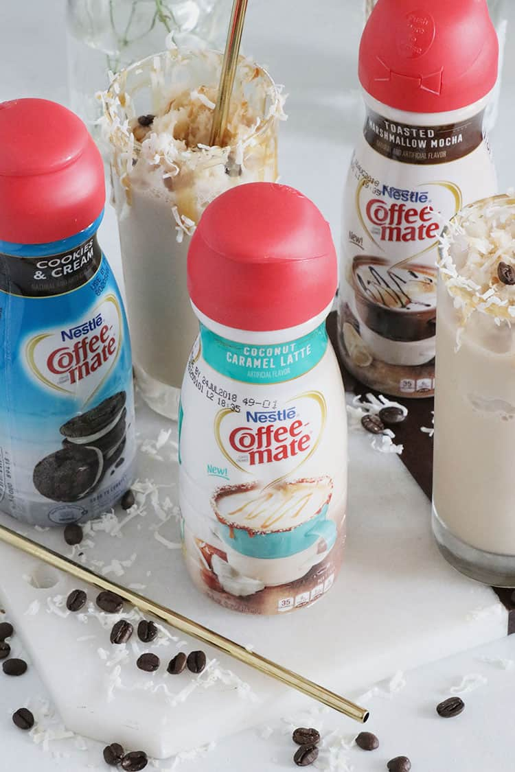 Frozen Caramel and Coconut Blended Coffee