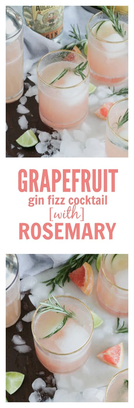 Grapefruit Gin Fizz Cocktail with Rosemary Simple Syrup (option for mocktail recipe too w/ La Croix)