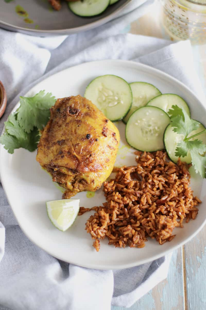 Juicy Chicken Thighs, tossed in a savory tumeric and ginger marinade, make for a batch of the crispiest, and most flavorful chicken thighs ever.