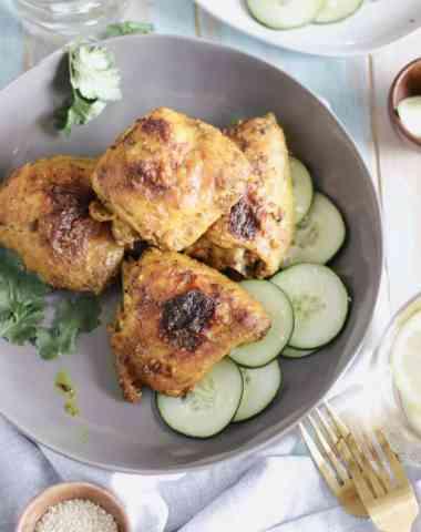 crispy turmeric chicken thighs
