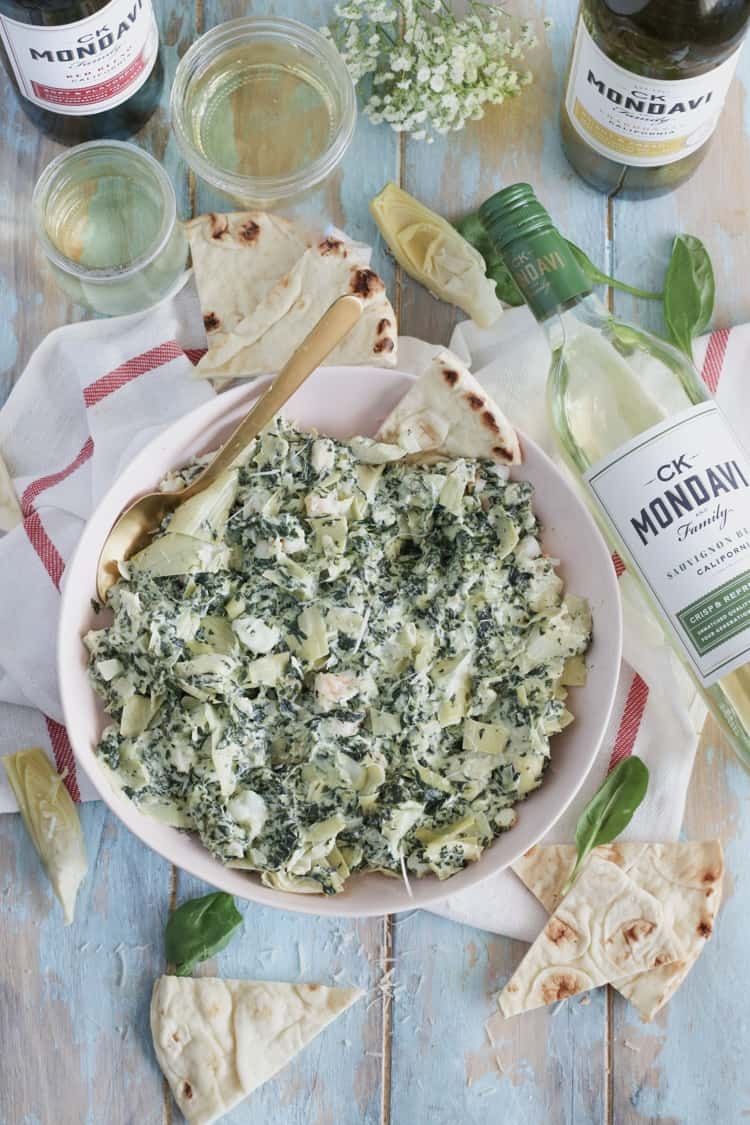 Shrimp Spinach Artichoke Dip [Lightened Up]: Creamy, rich, and loaded with chopped shrimp! Perfect for a party.