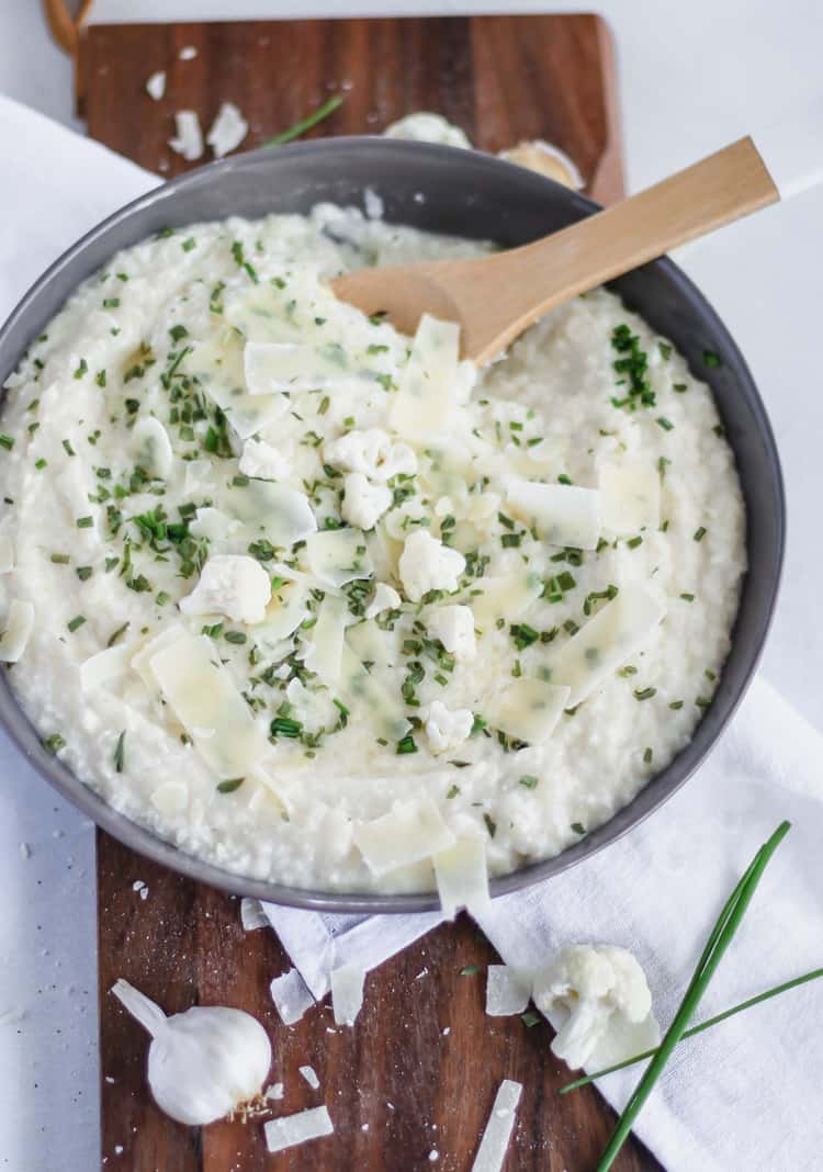 roasted garlic parmesan mashed cauliflower