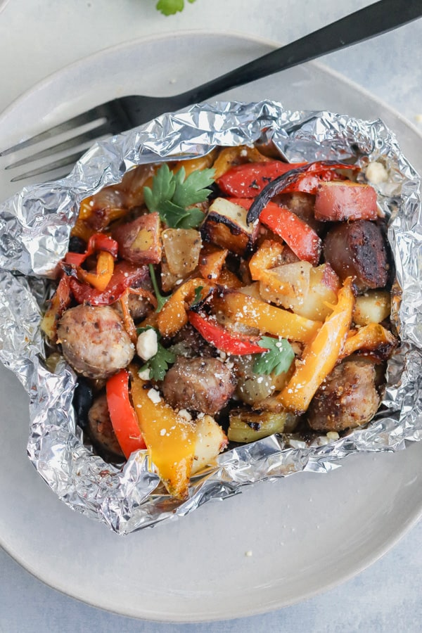 Italian Sausage and Pepper Foil Packets on the Grill