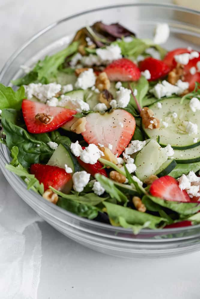 strawberry spring salad with goat cheese