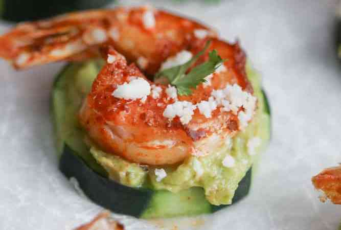 Guacamole and Shrimp Cucumber Bites