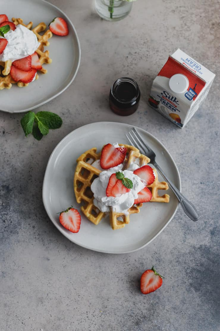 grain-free strawberry shortcake waffles