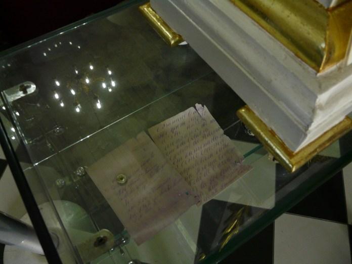 Carta achada durante o restauro