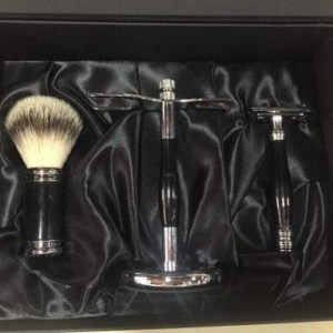 Conjunto barbear clássico preto