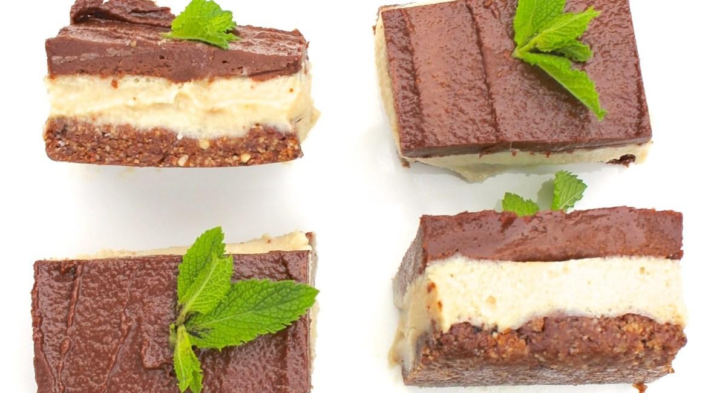 raw vegan chocolate mint slice