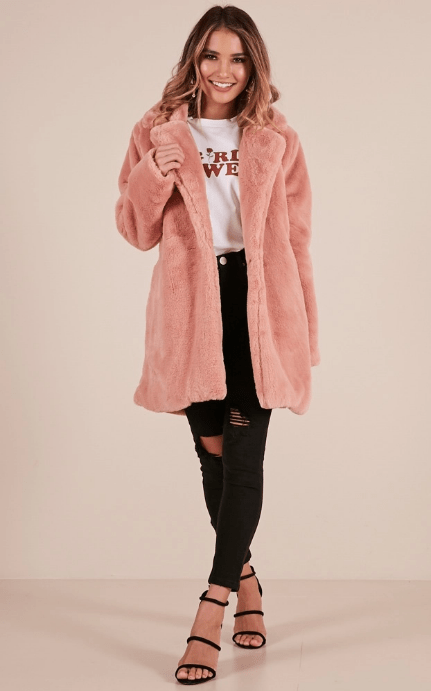pink faux fur jacket
