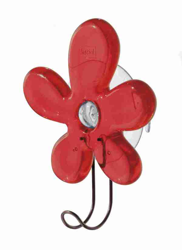 Gancio a ventosa fiore Koziol rosso