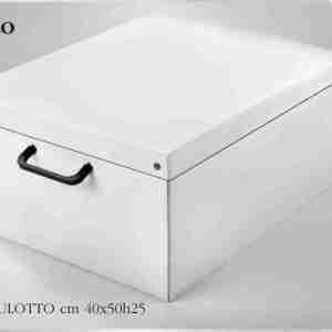 Scatola-baule portabiancheria Bianco Lavatelli