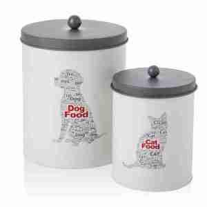 Cat&dog barattoli ferro smaltato set 2 pz