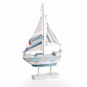 Barca a vela piccola su piedistallo legno Montemaggi