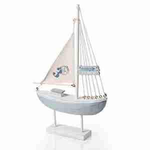 Barca a vela grande su piedistallo legno