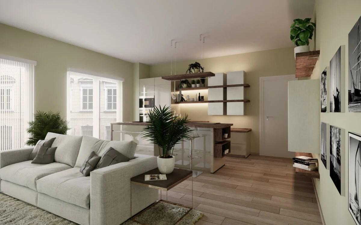 Una zona giorno spaziosa, in cui è presente una cucina con penisola che definisce tre. Idee Per Arredare Un Appartamento Di 80 Mq
