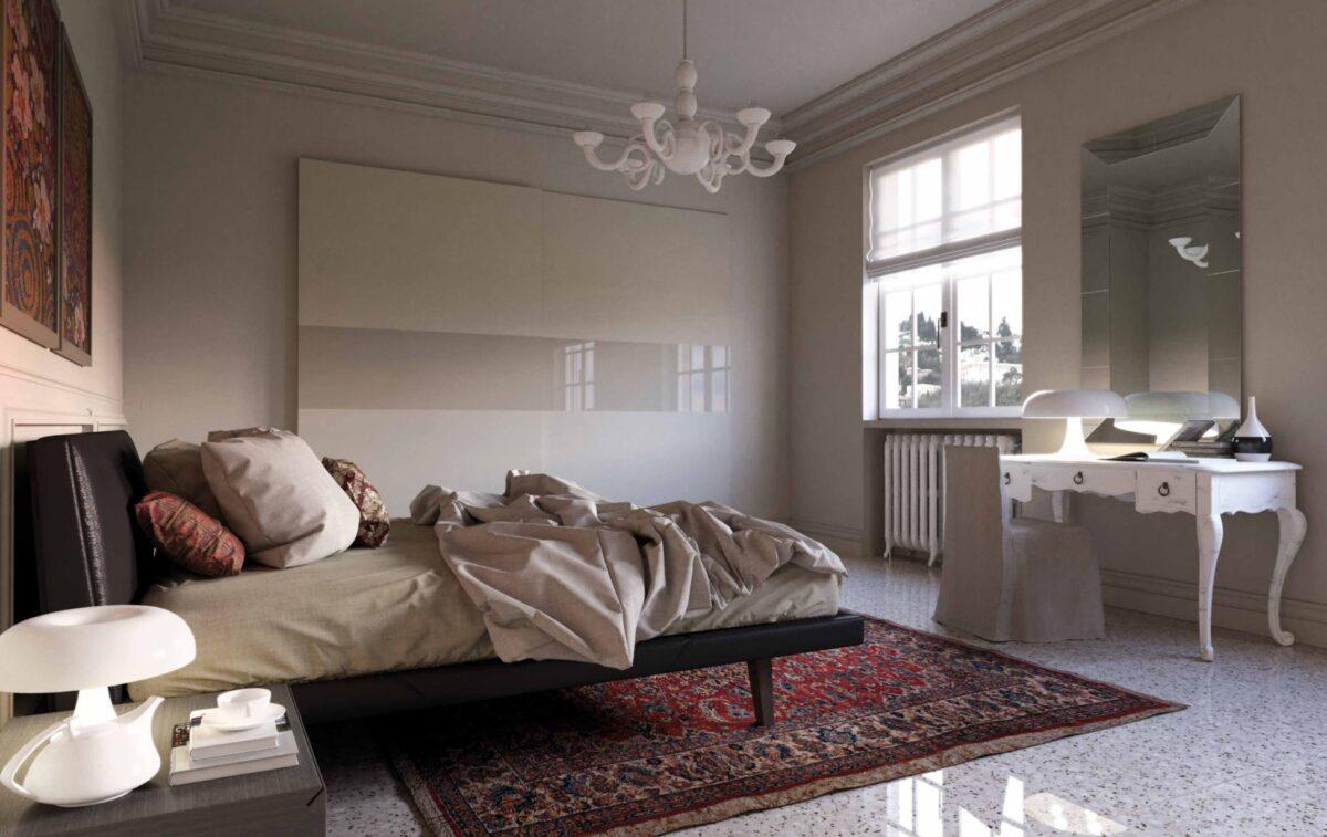 Completamente realizzata con pannelli di nobilitato 18 mm, la camera da letto matrimoniale è adatta ad un materasso 160x200 cm, con un sistema di sollevamento rete con pistoni a gas incluso. Camera Da Letto Mix Di Antico E Moderno