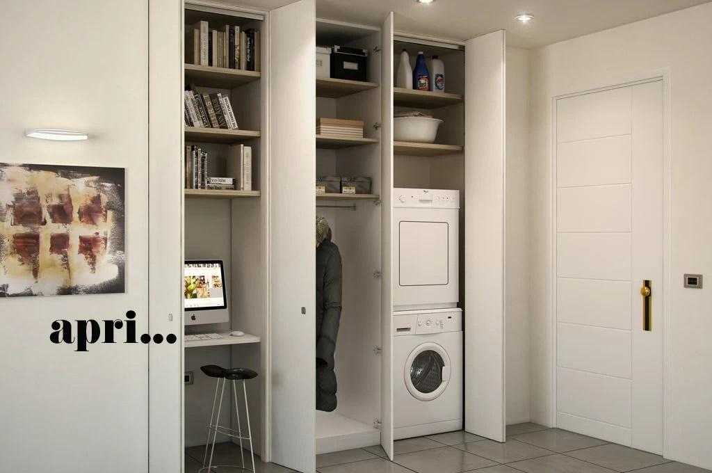 Larmadio a muro per nascondere lavanderia ripostiglio